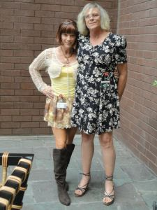 She looks so small standing next to me here. she was wearing flats while i was wearing wedges with a 1 inch platform. she was shorter than i am but not as much as this picture makes it appear.